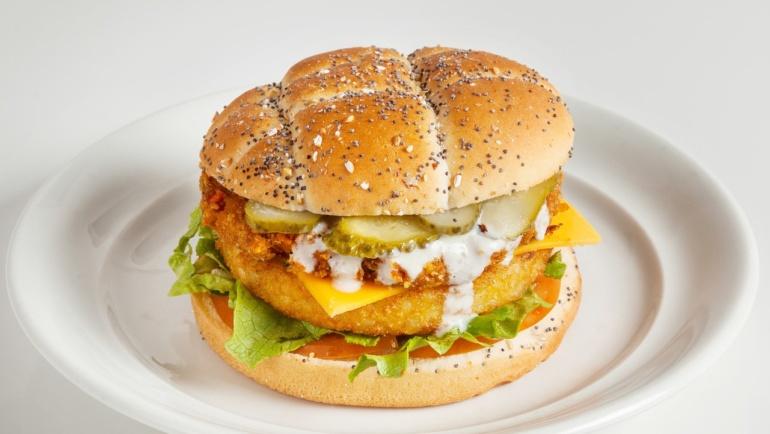 Crousty chicken burger végan